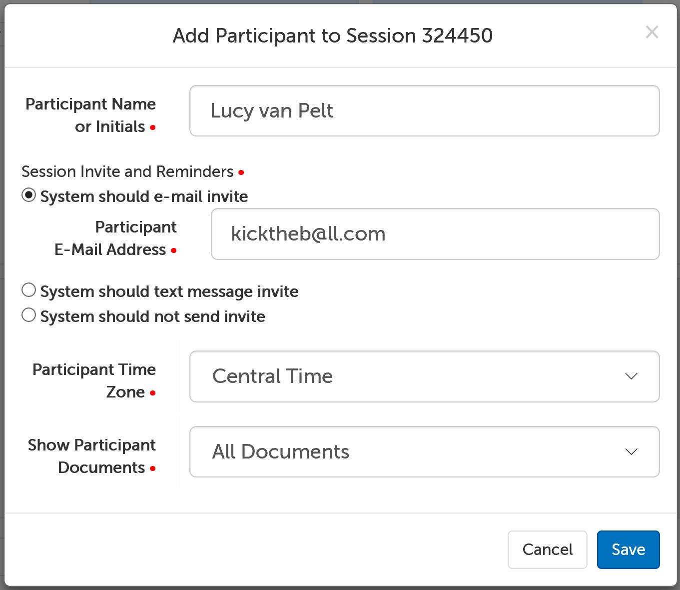 Screencap showing the Add Session Participant form