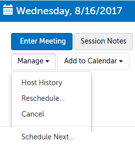 "Use the ""Manage"" button to reschedule or cancel a session"