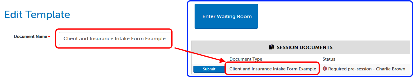 How the Document Name appears on the waiting room page