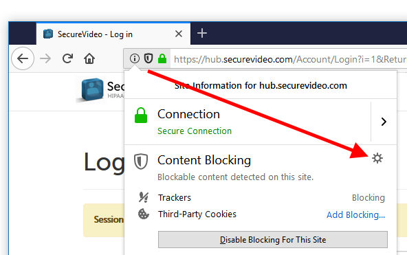 Content Blocking settings icon; button help text: Open Tracking Protection Preferences