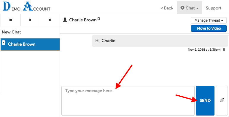 "Example of chat window, with arrows pointing to the text input field and ""Send"" button"