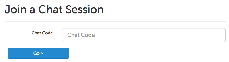 Chat access code input field
