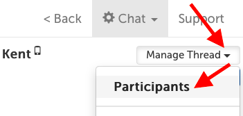 "Manage button; ""Participants"" is first option in drop-down menu"