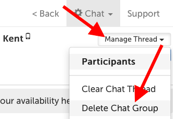 Manage Thread -> Delete Chat Group