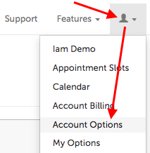 Account Options in profile menu